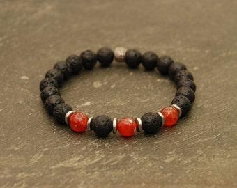 Gemstone Beaded Bracelet Men's Lava Rock and Fire Agate