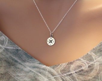 Sterling Silver Tiny Compass Charm, Compass Charm, Travel Charm, Traveling Charm, Sisterhood of the Traveling Charm Necklace, Explore Neckla