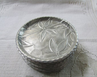 Vintage Everlast forged aluminum coasters set of 8 bamboo barware mid century hostess gift