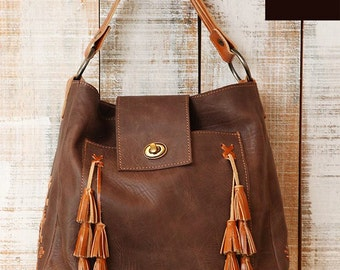 Tassels leather purse, Brown leather bag, shoulder bag, leather purse handmade, Leather bag with tassels