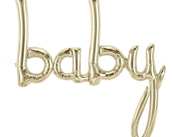 Baby Shower Balloon Baby Script Balloon White Gold Air-Filled Northstar balloons, Baby Announcement balloon, Gender Reveal Decorations