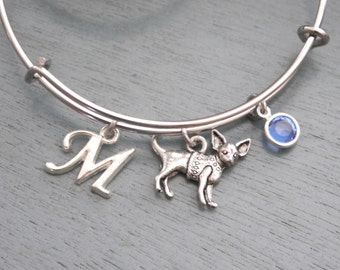 Chihuahua Bracelet, Chihuahua Bangle, Chihuahua Jewelry, Personalized, Chihuahua Lover Gifts, Letter Birthstone, Initial, Custom, BLCB