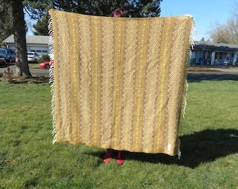 Vintage Faribo Wool Southwestern Style Golden Brown Stadium Blanket with Fringe