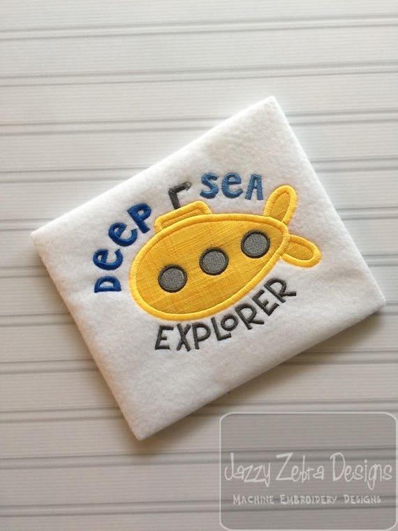 Deep Sea Explorer submarine appliqué embroidery design - submarine applique design - boy applique design - explorer applique design