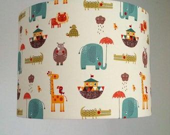 Noahs Ark Nursery Lampshade, Animal Nursery Light Shade, Neutral Nursery Decor, Elephant Lamp Shade, Cream Fabric Lampshade, New Baby Gift