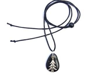 Australian beach stone necklace - Rock pendant - Natural jewellery - Beach jewelry - Ocean pebble - Silver Christmas tree