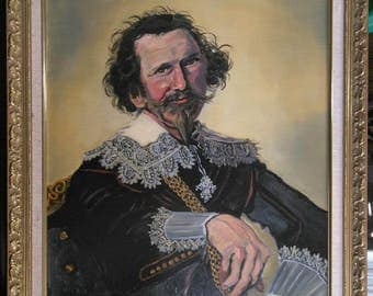 Vintage Portrait Painting of a Man Pieter van den Broecke after Frans Hals
