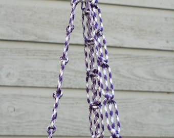 Dark Purple and White Paracord Plant Hanger