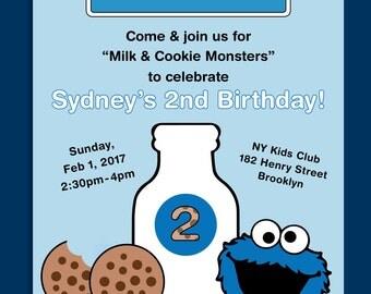 "Cookie Monster / Sesame Street (""Cookie Monsters & Milk"") Themed Birthday Invitation - Printable"