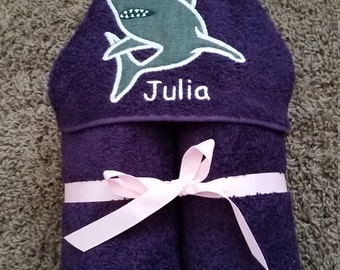 Personalized Shark Purple Hooded Towel