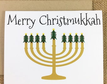 Christmas / Hanukkah Card - Merry Christmukkah