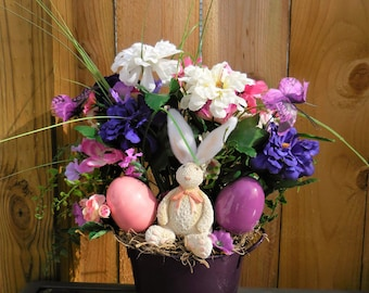 Easter Arrangement, spring arrangement, bunny floral decor, Easter decor, Tabletop decor, purple and pink, rabbit decor, Easter egg decor