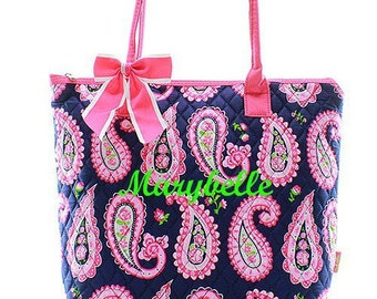 Monogrammed Quilted Handbag Personalized Purse Tote Bag : quilted monogrammed tote bags - Adamdwight.com