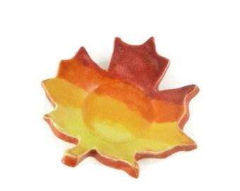 Maple Leaf Shaped Dish - spoon rest - incense holder - sunrise dish - leaf dish - sunset colors
