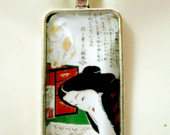 Geisha and her cat pendant and chain - CAP16-104