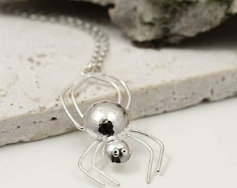 Sterling Silver Spider Necklace - Spider Jewellery - Spider Gifts