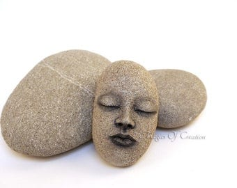 Original rock art handsculpted stone portrait: one of a kind home decor or paper weight, great for people with unusual and unique tastes!