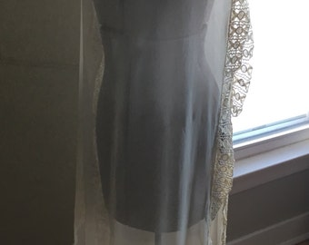 Vintage Sheer Dress, Silk Georgette and Embroidery 1920s Mantle / Overlay