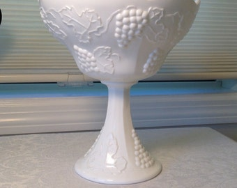 Indiana Milk Glass Compote in Harvest Grape Pattern ~ Mid-Century Milk Glass Decor ~ Pedestal Compote Bowl ~ Indiana Glass Company