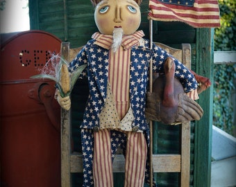 CraBByGaBByDolls ~PATTERN~ Primitive Folk Art Americana Standing Uncle Sam with Turkey