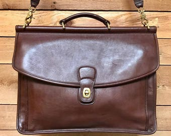 Vintage Coach Large Beekman Briefcase Laptop Messenger Vtg Brown Leather Book Bag Made in USA 5266