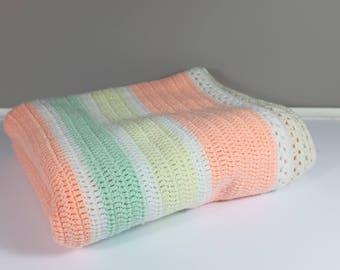 Vintage baby crochet blanket pastel colours - Striped crochet blanket for baby pastel pink, pastel yellow, aqua, white and cream colours