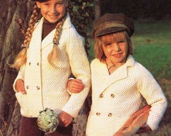 Child Boy Girl Aran Double Breasted Jacket with Collar and Pockets Size 56 to 71 cm 22 to 28 inch Sunbeam 542 Vintage Retro Knitting Pattern