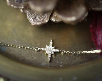 14k gold starburst diamond bracelet, diamond star cluster chain bracelet, solid yellow rose white gold, Christmas gift, gift for her,sb-b101