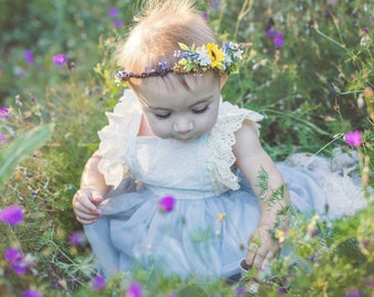 Sunflower & Lavender Flower Crown - Sunflower Halo - Rustic Flower Girl Crown - Sunflower and Lavender Halo - Photo Prop - Maternity Photos