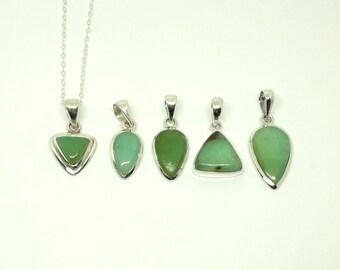 Sterling Silver Chrysoprase Necklace Silver Stone Necklace Green Stone Pendant Green Silver Necklace Chrysoprase Pendant Elegant Stone Gem