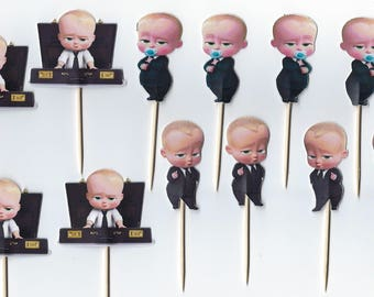 12 Boss Baby inspiried Cupcake Toppers, Party Picks, Pink Cupcake,Boss Baby Cupcakes, Theme Birthday Decor, Shower, Celebration.