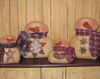 Primitive PATTERN Snowman Shelf Sitters (4 different sizes) - Snowman Family - Sew Many Prims - instant download