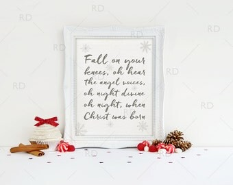 Fall on your knees, oh hear the angel voices - PRINTABLE Wall Art / Oh Holy Night / 2 for 1! / Christmas Printable / Christmas Lyrics