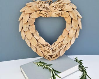 Personalised Driftwood Heart Hand Engraved 5th Anniversary, Romantic Wreath, Wedding gift, New Home Memorial Funeral Wreath Quotation (WR01)
