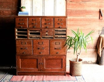 Vintage Library Card Catalog Cabinet, Rustic Storage File Cabinet, Lawyer  Bookcase, Loft Style