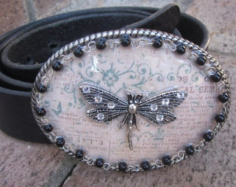 Dragonfly belt buckle black Beaded belt buckle women's belt buckle mens belt buckle Dragonfly bohemian gypsy crystal Belt Buckle