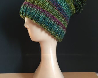Hand Knitted bobble hat - greens/plum/teal (lily pond)