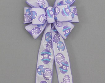 Lavender Easter Egg Wreath Bow -  Easter Wreath Bows, Spring Bow, Easter Basket Bow, Spring Wreath Bow, Easter Decorations