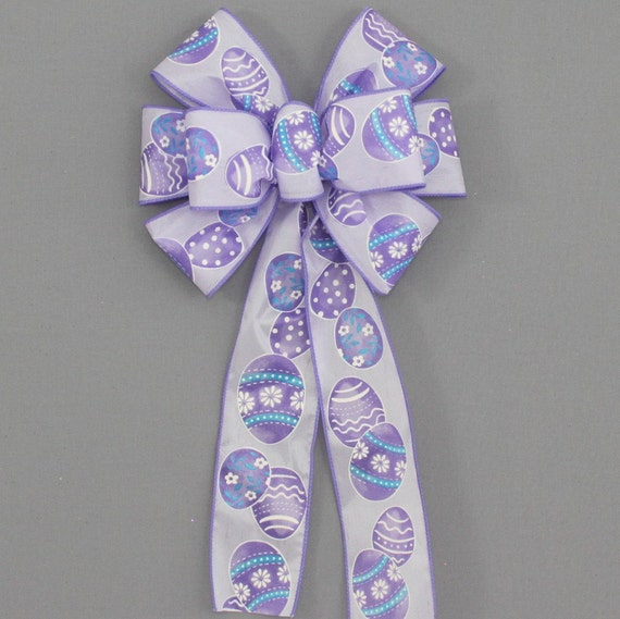 Two Silly Monkeys Easter Basket Wreath: Lavender Easter Egg Wreath Bow
