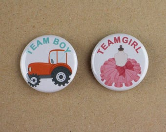 "30 - 1.25"" pin buttons,gender reveal button pin,team girl team boy button pin,pink team blue team,baby shower pin"