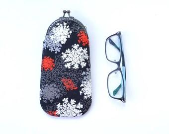 Soft eyeglass case, eyeglass holder, fabric eyeglass case, sunglasses case, etui, eyewear, black minimalist, parsley, wildflower print, red