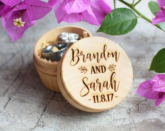 Custom Wedding Ring Box, Wooden Ring Box, Ring Bearer Box, Personalized Wedding Ring Box, Wedding Rings Holder, Rustic Ring Box