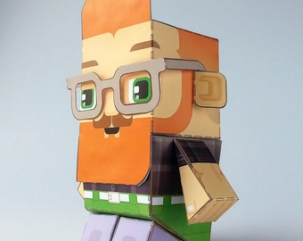 Make your own Hipster paper toy - SEAN Deep Lilac & Apple - D.I.Y. craft activity kit. Great gift for kids and crafters - DIGITAL DOWNLOAD