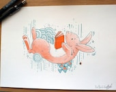 Reading Rabbit - A4 Two Colour Risograph Print (Limited run of 30) Orange, Teal, Cute, Read, Books.