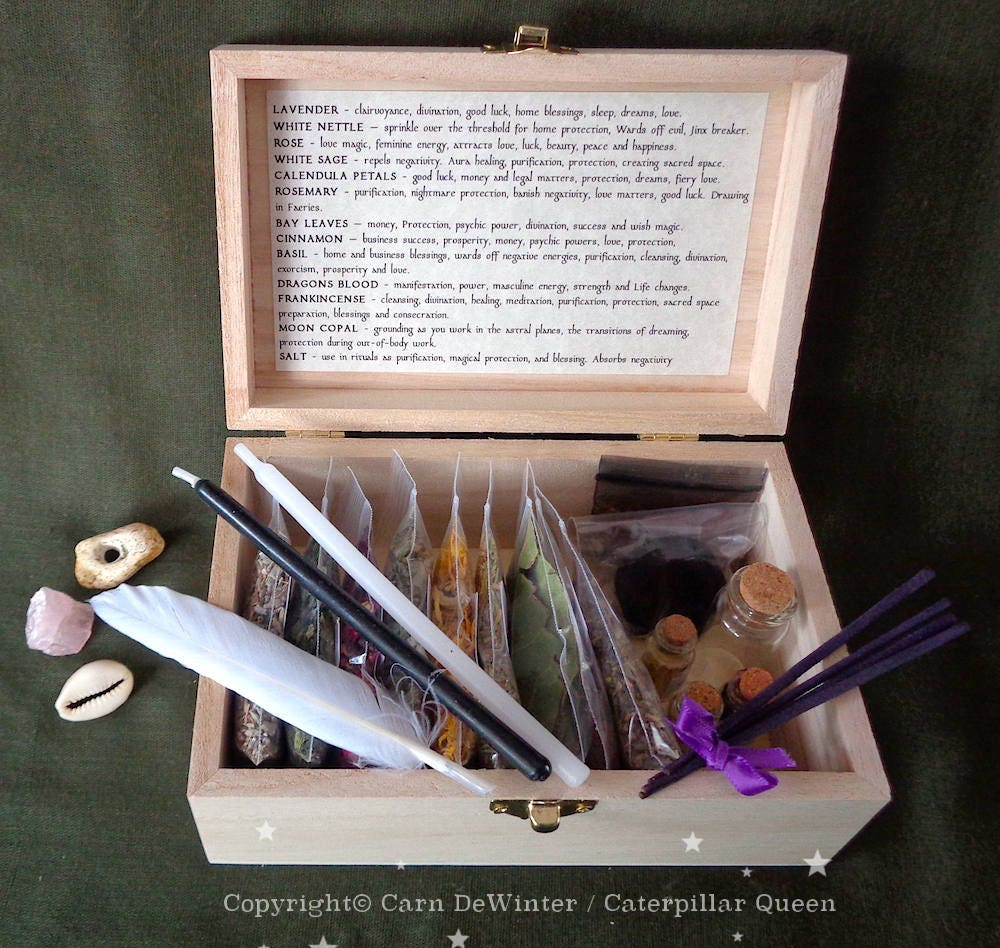 Witches Herb Box  Wicca Starter Kit For Witch Spells And Incense  Witches  Sabbat Gift