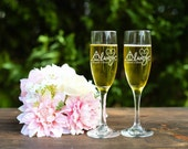 Always Toasting Flutes - Harry Potter Inspired Toasting Flutes - Champagne Flutes