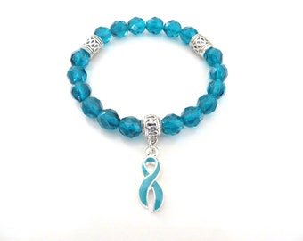 Teal Awareness Ribbon Infinity Glass Beaded Stretch Bracelet Ovarian Cancer Tourettes Syndrome Hydrocephalus Ocd Anxiety Ptsd Hernia