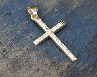 GOLD cross, Simple cross, textured cross, petite cross, wood grain woodgrain pattern, NOS New Old Stock, Unused vintage, Christian jewelry