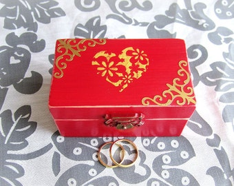 Ring Bearer Wedding Ring Box, Heart Ring Box, Red Ring Bearer Box, Engagement Ring Box, Red Ring Box, Gold heart ring box