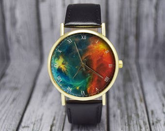 Colorful Nebula Space Watch | Leather Watch | Ladies Watch | Men's Watch | Gift Idea |  Birthday | Wedding | Gift Ideas | Fashion Accessory